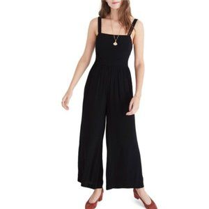 Madewell Smocked Crop Jumpsuit Black Wide Leg